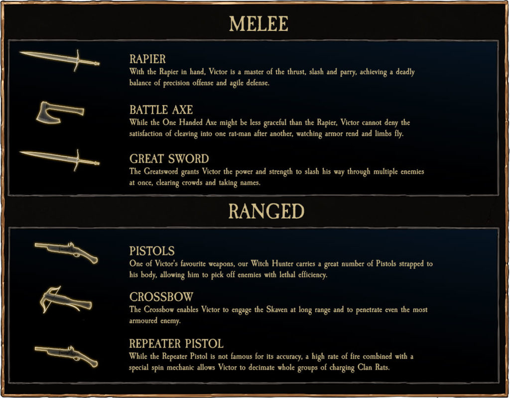 All the weapons you can weld as the Witch Hunter